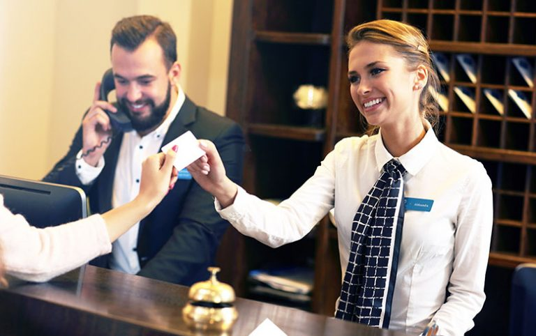 smiling female concierge